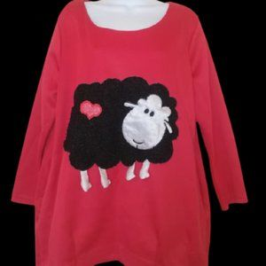 Funny Red Tunic Top Fits Women XL